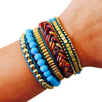 Fitbit Bracelet for FitBit Flex Activity Trackers - The ROSIE Blue Beaded, Braided Layered Snap Fitbit Bracelet - FREE U.S. Shipping