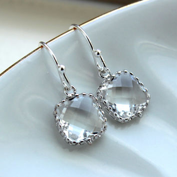 Dainty Small Silver Crystal Earrings - Crystal Clear Bridesmaid Earrings - Wedding Earrings - Silver Wedding Jewelry - Bridal Earrings