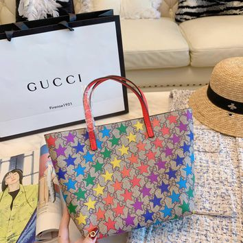 Gucci Women Leather Flower Print Shopping Tote Handbag Shoulder Bag