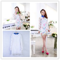 Women : LONG SLEEVE embroidery hollow out SUMMER LACE DRESS ghl0216
