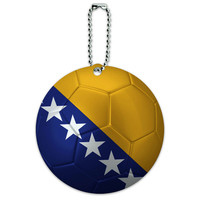 Bosnia and Herzegovina Flag Soccer Ball Futbol Football Round ID Card Luggage Tag