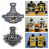 2017 Stanley Cup Champions Pittsburgh Penguins Evgeni Malkin Jersey New Yellow White Black Cheap #71 Evgeni Malkin Ice Hockey Jersey A Patch