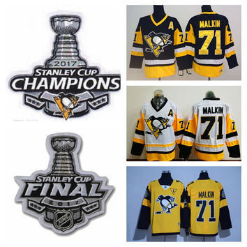 af5b4b144 2017 Stanley Cup Champions Pittsburgh Penguins Evgeni Malkin Jersey New  Yellow White Black Cheap #71