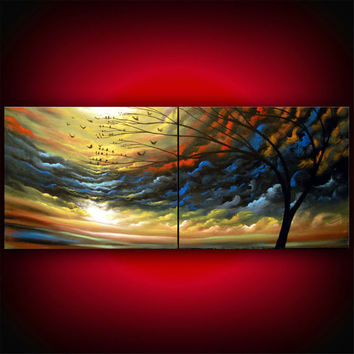 The Music Never Stops - cloud painting tree painting large abstract landscape by mattsart