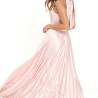 Epic Night Blush Pink Satin Maxi Dress