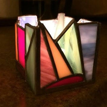 Abstract Stained Glass Candle Holder Shelter Votive Rainbow Colorful