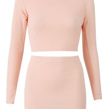 Alexis Nude Cowl Neck Two Piece Set - Kim Kardashian Two Piece Set | South Avenue