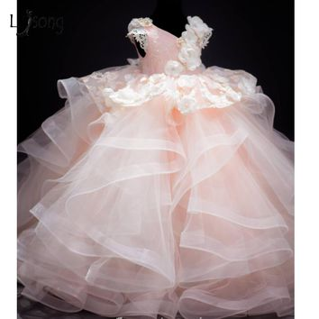 2017 Baby Pink Lush Pageant Dresses For Girls 3D Flower Lace Pearls Children Images Photoshoots Gowns Flower Girl Dresses