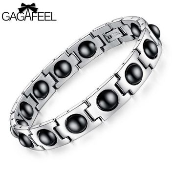 New Men Male Personalized Health Magnetic Titanium Steel Bracelet Bangles Casual Wristband Luxury Jewelry Friendship Gifts B635