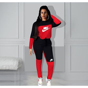 Womens Stylish NIKE Two Pieces Tee Pants Sportswears J6107