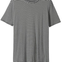 LE3NO Womens Striped Short Sleeve Crew Neck Tunic Top