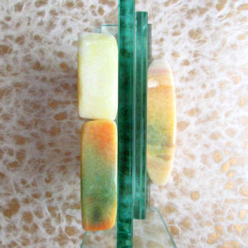 Vintage Alabaster Fruit Five PIece Collection Melon Slices and Peaches 1960s