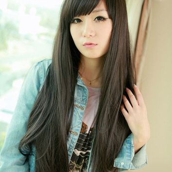 Black Long Straight With Bangs Synthetic Wig