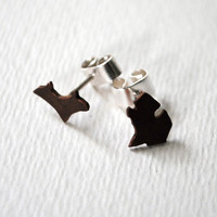 Michigan Upper and Lower Peninsula Sterling Silver and Copper Post Earrings