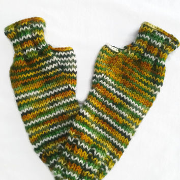 Green Fingerless Gloves, Texting Gloves, Arm Warmers, Wrist Warmers, Hand Dyed Yarn, Yellow Fingerless Gloves, Orange Fingerless Gloves