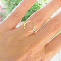 Gold ring, Any Size, gold circle ring, karma ring, infinity ring, eternity ring, thin delicate ring