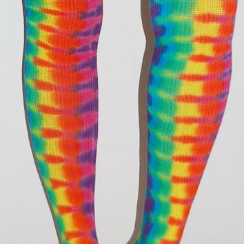 Women's Thigh High Socks Tie Dye Neon DNA Sexy Hippie Gypsy American Apparel art grateful dead