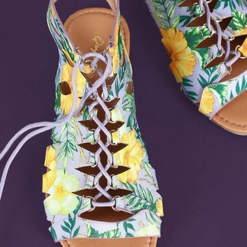 Qupid Tropical Caged Lace Up Open Toe Flat Sandal