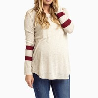 Burgundy-Striped-Sleeve-Maternity-Knit
