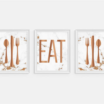 Eat Art Print, Marble Decor, Copper Decor, Kitchen Wall Art, Kitchen Decor, Eat Sign, Eat Kitchen Art, Fork Spoon Knife Art, Set of Three