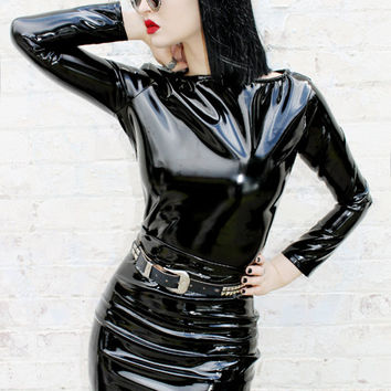 ADELE PIERRI 'Charmer' Goth Glam Rock Metal Fetish style Black Shiny PVC Long Sleeve Top
