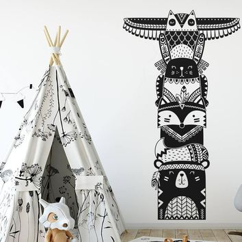 Newly Arrivals Totem Pole Wall Decal Woodland Animal Tribal Decals Vinyl Removable Wall Sticker For Baby Children Bedroom LA998