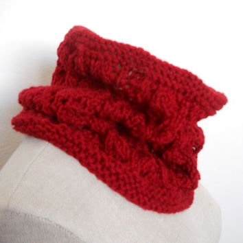 SPRING SALE!!  Beautiful berry red Hand Knit Cowl Neck Scarf, Chunky Cowl Neck Scarf, Infinity Scarf lace cowl