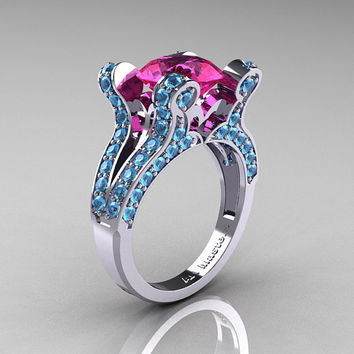 French Vintage 14K White Gold 3.0 Pink Sapphire Blue Topaz Pisces Wedding Ring Engagement Ring Y228-14KWGBTPS