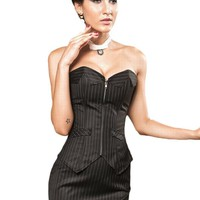 Boardroom Babe Pinstripe Corset Sets