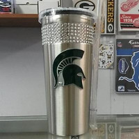 NCAA Michigan State Spartans 16oz Stainless Steel Bling Tumbler with Straw