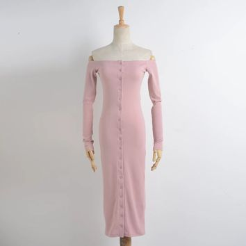 Fashion word shoulder button in front of the dress