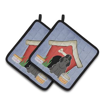 Dog House Collection Cocker Spaniel Black Pair of Pot Holders BB2846PTHD