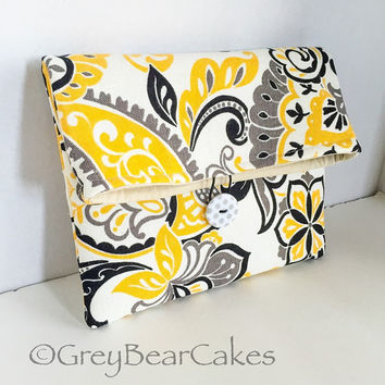 Yellow and Grey Makeup Clutch, Fold Over Makeup Pouch, Halloween Makeup Bag, Gift for Her, Gift Under 20