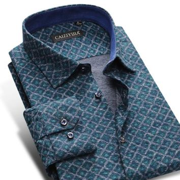 British Style Warm Flannel Print Shirts