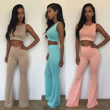 LMFOK2 Candy Colored Crop Top & Flared Pants Set