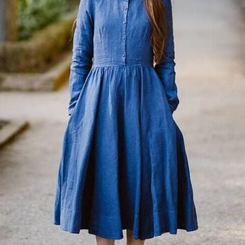 New Blue Single Breasted Draped Pleated Petal Neck Long Sleeve Elegant Midi Dress