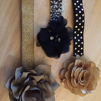 Baby Girl Set of three black and gold themed headbands