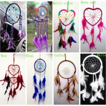 "Dream Catcher with feathers wall hanging Home Car decoration ornament -16"" Long Windmill Wind Bell various colors  [8424450439]"
