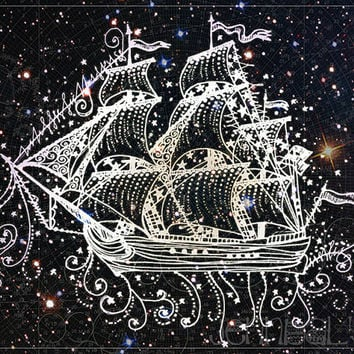 ship print - nautical decor - ship art - prints - illustrations