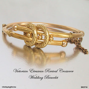 Antique Victorian Gold Filled Hinged Bangle Bracelet Etruscan Work, Victorian Wedding Bypass Bracelet, Etruscan Revival 1870 to 1880