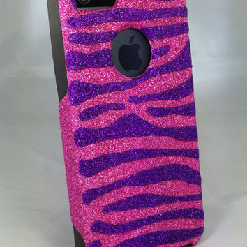 Custom Glitter Design Case Otterbox for iPhone 5 Raspberry/Black Purple Zebra Stripes