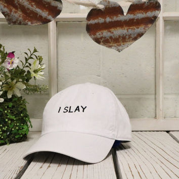 2b4a9692b843f I SLAY Baseball Hat Low Profile Embroidered Baseball Caps Dad Hats White