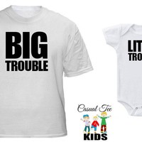 Daddy and Son Matching Shirts Big Trouble Little Trouble Matching Father Baby Tshirt and Baby Boy Bodysuit Father's Day