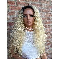 "Rooted Blond Waves Human Hair Blend Lace Wig 30"" deep side part"