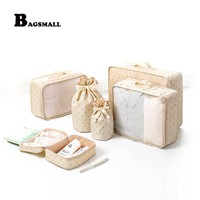 BAGSMALL 6pcs/Set Packing Cubes Waterproof Nylon Travel Organizer Bag for Luggage Packing Suitcase With Drawstring Cosmetic Bag