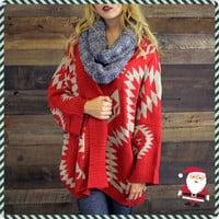 Bear Tooth Red Tribal Cardigan