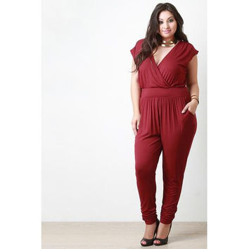 Surplice Cap Sleeves Jumpsuit