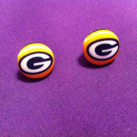 Packers Fan Earrings, Green Bay Packers Fabric Button Earrings
