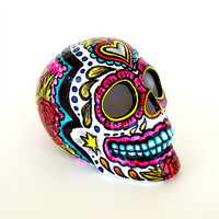 Ceramic Sugar Skull Sculpture Hand Painted Day of the Dead Red Roses Sacred Heart Pink Black White Dia de los Muertos