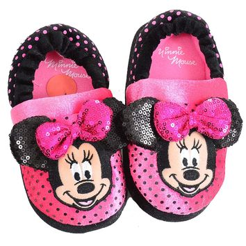 Disney Minnie Mouse Girls Kids Slippers Sequins Dots